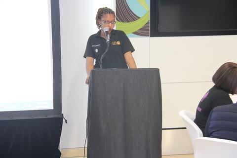Lindokuhle Msele, YAP member, giving her testimony.
