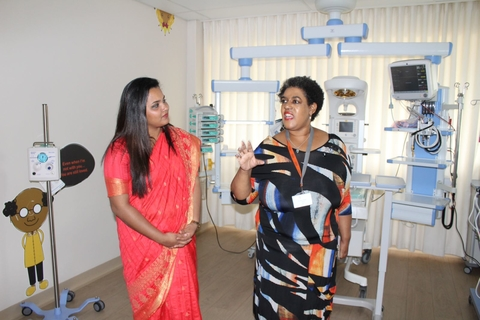 UN Secreatry-General's Envoy on Youth, Jayathma Wickramanayake on a guided tour of the Nelson Mandela Children Hospital, 14 February 2018. Photo Credit: Sarah Kenyi