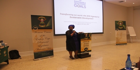 Siziwe Jongizulu, UNFPA's National Programme Officer in the Eastern Cape, presenting on the Sustainable Development Goals (SDGs).